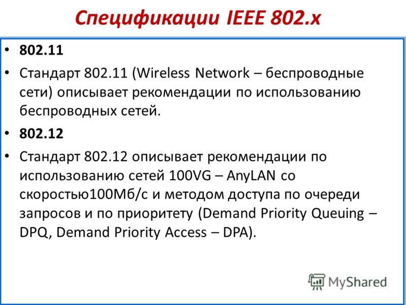 Спецификации IEEE 802.х 802.11 Стандарт 802.11 (Wireless Network – беспроводные сети) описывает рекомендации по использованию беспроводных сетей. 802.12 Стандарт 802.12 описывает рекомендации по использованию сетей 100VG – AnyLAN со скоростью100Мб/с