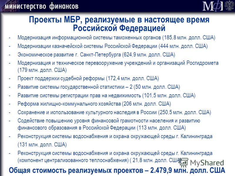 Проекты МБР, реализуемые в настоящее время Российской Федерацией -Модернизация информационной системы таможенных органов (185,8 млн. долл. США) -Модернизации казначейской системы Российской Федерации (444 млн. долл. США) -Экономическое развитие г. Са