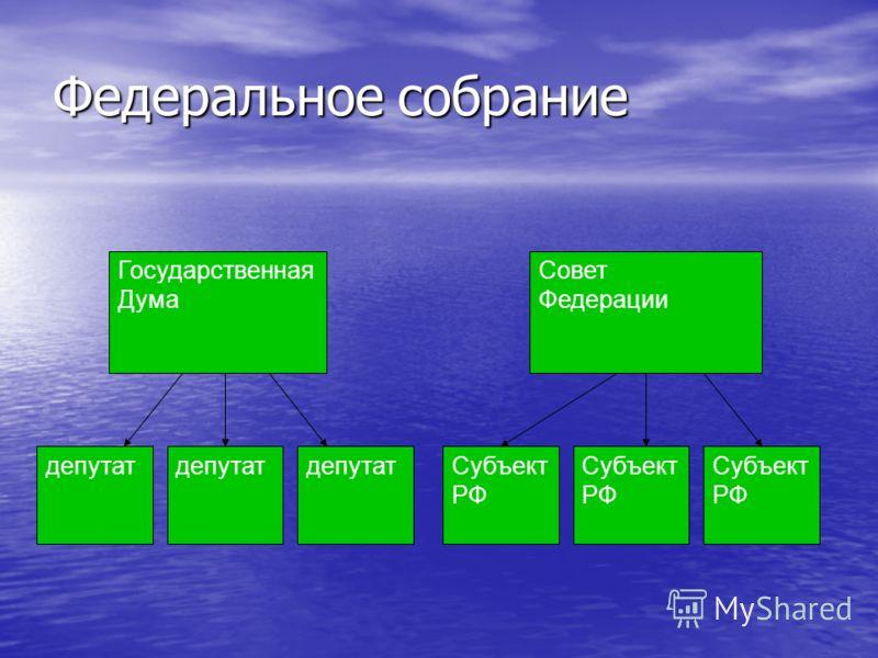 Федеральное собрание Государственная Дума Совет Федерации депутат Субъект РФ