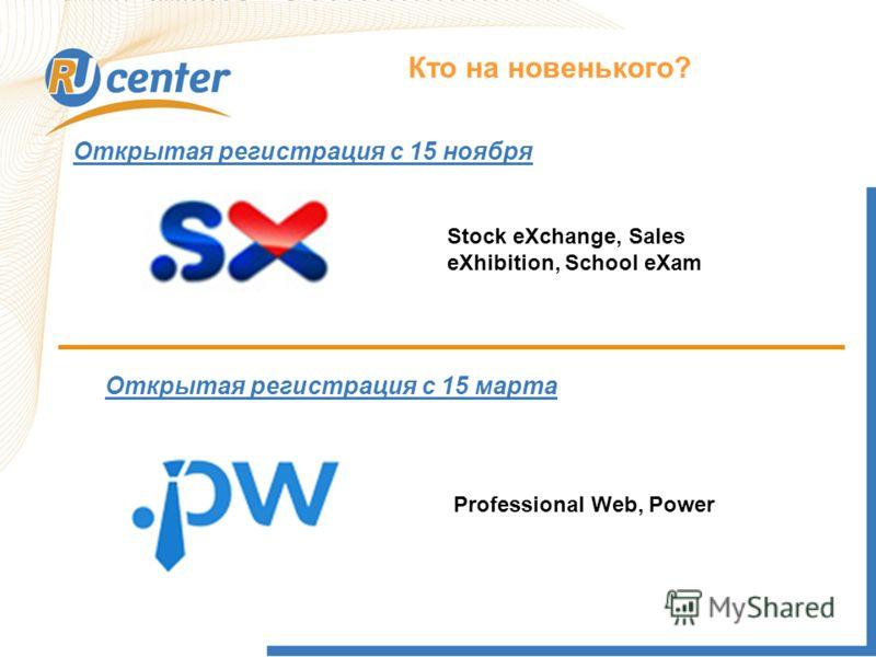 Как работает домен TEL? Кто на новенького? Stock eXchange, Sales eXhibition, School eXam Открытая регистрация с 15 ноября Открытая регистрация с 15 марта Professional Web, Power
