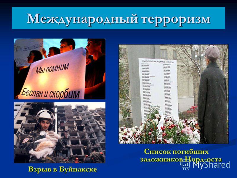 Международный терроризм Взрыв в Буйнакске Список погибших заложников Норд-оста