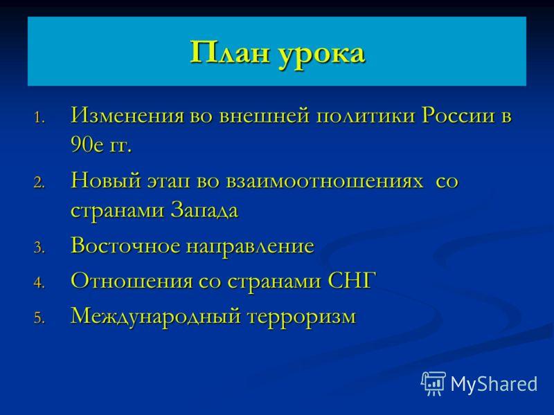 План урока 1. Изменения во внешней политики России в 90е гг. 2. Новый этап во взаимоотношениях со странами Запада 3. Восточное направление 4. Отношения со странами СНГ 5. Международный терроризм