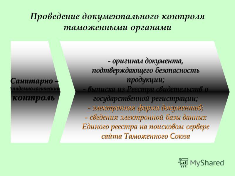 Проведение документального контроля таможенными органами Санитарно – эпидемиологический эпидемиологический контроль контроль - оригинал документа, подтверждающего безопасность продукции; - выписка из Реестра свидетельств о государственной регистрации