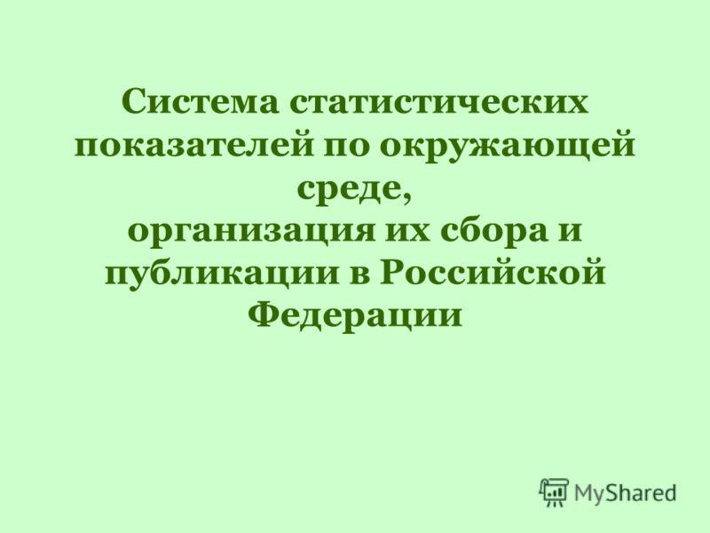 Система статистических показателей по окружающей среде, организация их сбора и публикации в Российской Федерации