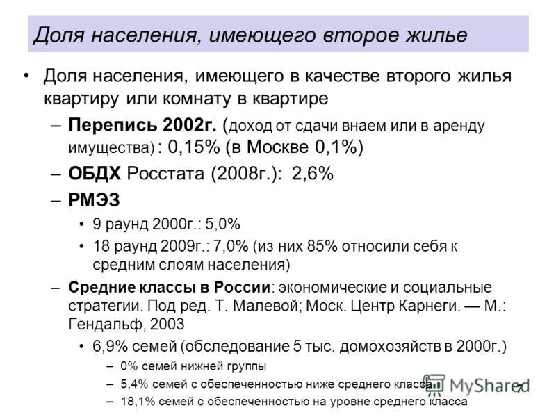 7 Доля населения, имеющего в качестве второго жилья квартиру или комнату в квартире –Перепись 2002г. ( доход от сдачи внаем или в аренду имущества) : 0,15% (в Москве 0,1%) –ОБДХ Росстата (2008г.): 2,6% –РМЭЗ 9 раунд 2000г.: 5,0% 18 раунд 2009г.: 7,0%