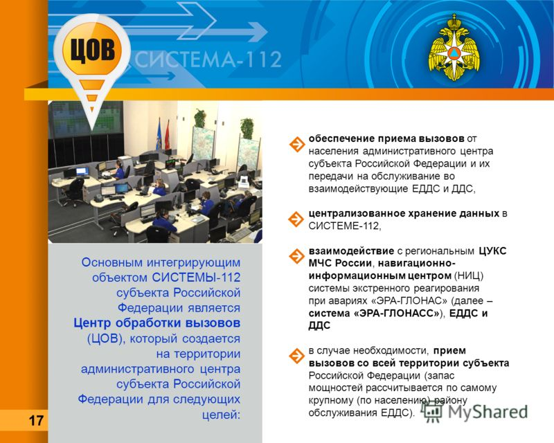 обеспечение приема вызовов от населения административного центра субъекта Российской Федерации и их передачи на обслуживание во взаимодействующие ЕДДС и ДДС, централизованное хранение данных в СИСТЕМЕ-112, взаимодействие с региональным ЦУКС МЧС Росси