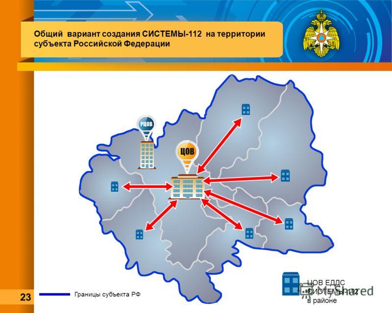 Границы субъекта РФ ЦОВ ЕДДС СИСТЕМЫ-112 в районе Общий вариант создания СИСТЕМЫ-112 на территории субъекта Российской Федерации 23