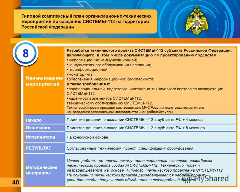Наименование мероприятий Разработка технического проекта СИСТЕМЫ-112 субъекта Российской Федерации, включающего в том числе документацию по проектированию подсистем: информационно-коммуникационной; консультативного обслуживания населения; геоинформац