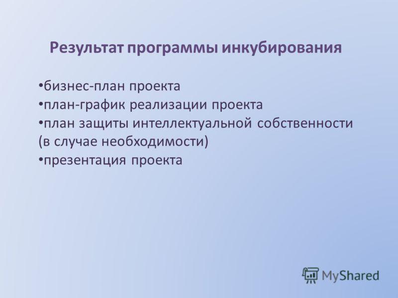 Результат программы инкубирования бизнес-план проекта план-график реализации проекта план защиты интеллектуальной собственности (в случае необходимости) презентация проекта