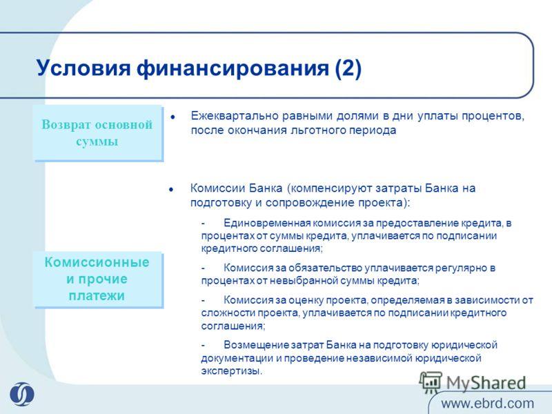 Комиссионные и прочие платежи Комиссионные и прочие платежи Возврат основной суммы Комиссии Банка (компенсируют затраты Банка на подготовку и сопровождение проекта): -Единовременная комиссия за предоставление кредита, в процентах от суммы кредита, уп
