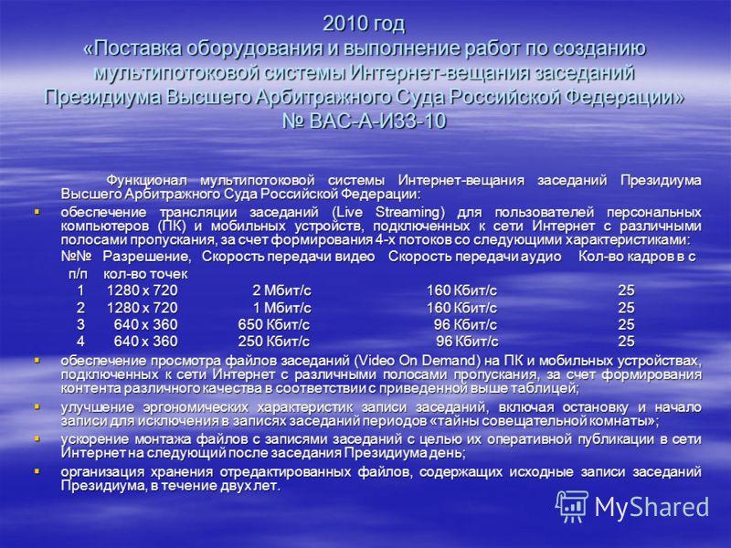 2010 год «Поставка оборудования и выполнение работ по созданию мультипотоковой системы Интернет-вещания заседаний Президиума Высшего Арбитражного Суда Российской Федерации» ВАС-А-И33-10 Функционал мультипотоковой системы Интернет-вещания заседаний Пр