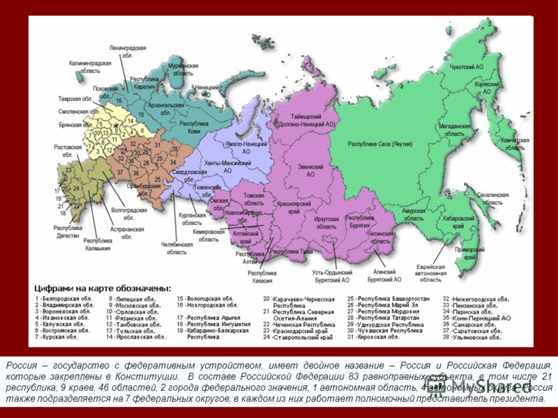 Россия – государство с федеративным устройством, имеет двойное название – Россия и Российская Федерация, которые закреплены в Конституции. В составе Российской Федерации 83 равноправных субъекта, в том числе 21 республика, 9 краев, 46 областей, 2 гор