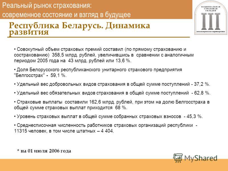 Национальная страховая гильдия http://www.nsgildia.ru/ Совокупный объем страховых премий составил (по прямому страхованию и сострахованию) 358,5 млрд. рублей, увеличившись в сравнении с аналогичным периодом 2005 года на 43 млрд. рублей или 13,6 %. До