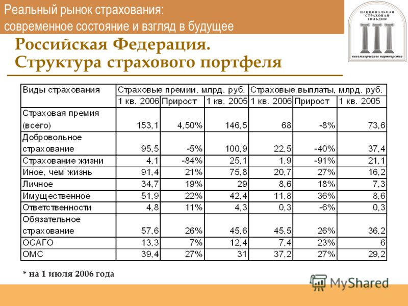 Национальная страховая гильдия http://www.nsgildia.ru/ Реальный рынок страхования: современное состояние и взгляд в будущее Российская Федерация. Структура страхового портфеля * на 1 июля 2006 года