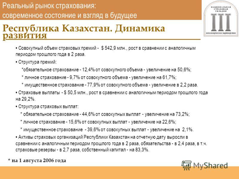 Национальная страховая гильдия http://www.nsgildia.ru/ Совокупный объем страховых премий - $ 542,9 млн., рост в сравнении с аналогичным периодом прошлого года в 2 раза. Структура премий: *обязательное страхование - 12,4% от совокупного объема - увели