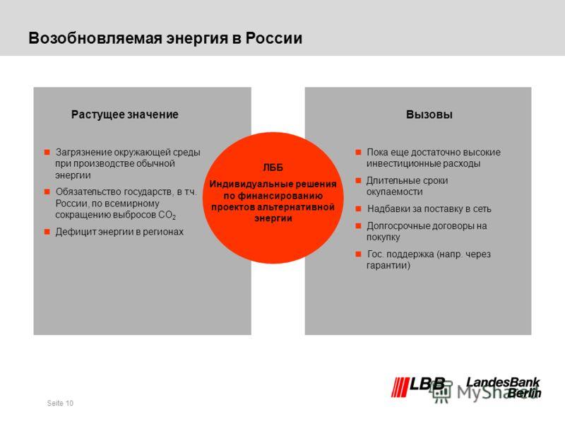 Seite 10 Возобновляемая энергия в России Растущее значение Загрязнение окружающей среды при производстве обычной энергии Обязательство государств, в т.ч. России, по всемирному сокращению выбросов СO 2 Дефицит энергии в регионах Вызовы nПока еще доста