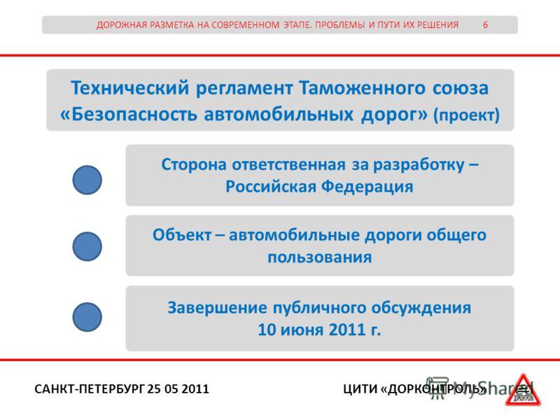 ДОРОЖНАЯ РАЗМЕТКА НА СОВРЕМЕННОМ ЭТАПЕ. ПРОБЛЕМЫ И ПУТИ ИХ РЕШЕНИЯ 6 ЦИТИ «ДОРКОНТРОЛЬ»САНКТ-ПЕТЕРБУРГ 25 05 2011 Технический регламент Таможенного союза «Безопасность автомобильных дорог» (проект) Сторона ответственная за разработку – Российская Фед