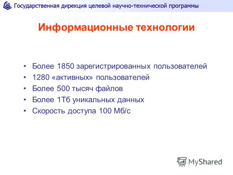 Информационные технологии Более 1850 зарегистрированных пользователей 1280 «активных» пользователей Более 500 тысяч файлов Более 1Тб уникальных данных Скорость доступа 100 Мб/с