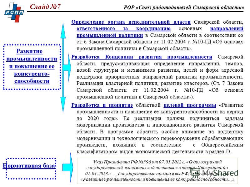 РОР «Союз работодателей Самарской области» Определение органа исполнительной власти Самарской области, ответственного за координацию основных направлений промышленной политики в Самарской области в соответствии со ст. 6 Закона Самарской области от 11