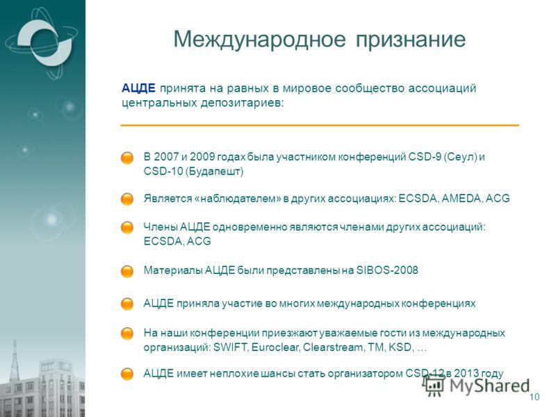 10 Международное признание В 2007 и 2009 годах была участником конференций CSD-9 (Сеул) и CSD-10 (Будапешт) АЦДЕ принята на равных в мировое сообщество ассоциаций центральных депозитариев: Является «наблюдателем» в других ассоциациях: ECSDA, AMEDA, A