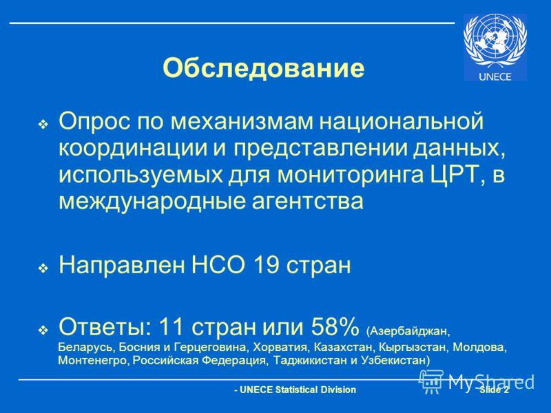 - UNECE Statistical Division Slide 2 Обследование Опрос по механизмам национальной координации и представлении данных, используемых для мониторинга ЦРТ, в международные агентства Направлен НСО 19 стран Ответы: 11 стран или 58% (Азербайджан, Беларусь,