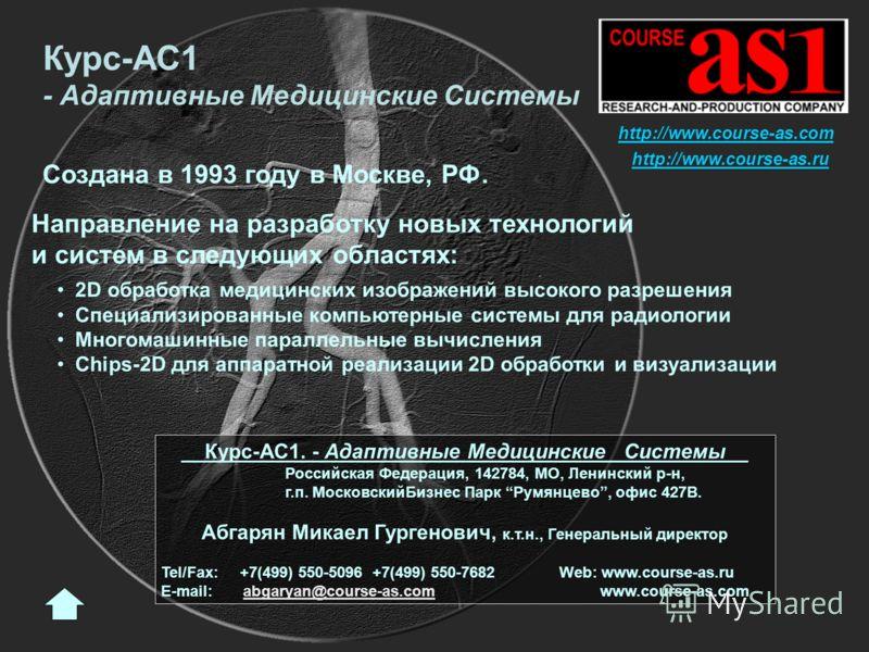 Создана в 1993 году в Москве, РФ. Направление на разработку новых технологий и систем в следующих областях: 2D обработка медицинских изображений высокого разрешения Специализированные компьютерные системы для радиологии Многомашинные параллельные выч