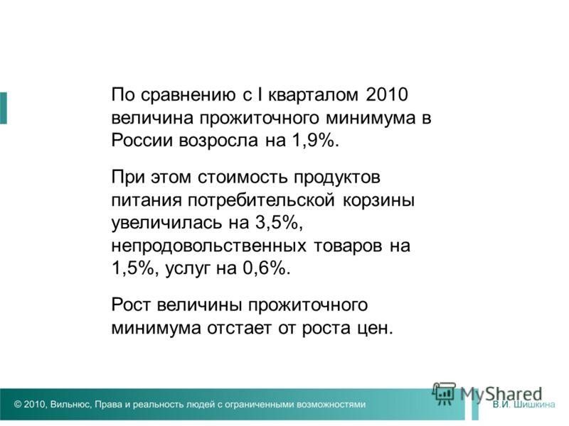 По сравнению с I кварталом 2010 величина прожиточного минимума в России возросла на 1,9%. При этом стоимость продуктов питания потребительской корзины увеличилась на 3,5%, непродовольственных товаров на 1,5%, услуг на 0,6%. Рост величины прожиточного