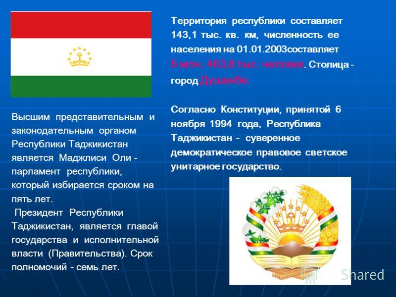 Территория республики составляет 143,1 тыс. кв. км, численность ее населения на 01.01.2003составляет 6 млн. 463,8 тыс. человек. Столица - город Душанбе. Согласно Конституции, принятой 6 ноября 1994 года, Республика Таджикистан - суверенное демократич
