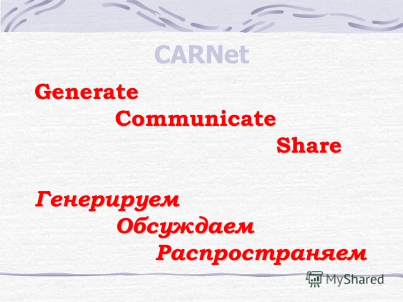 CARNet GenerateCommunicateShareГенерируемОбсуждаемРаспространяем