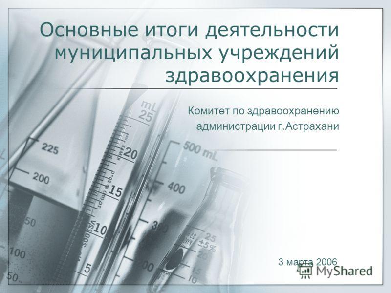 Основные итоги деятельности муниципальных учреждений здравоохранения Комитет по здравоохранению администрации г.Астрахани 3 марта 2006