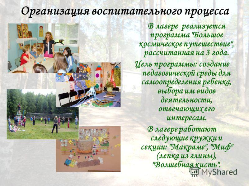 Организация воспитательного процесса В лагере реализуется программа