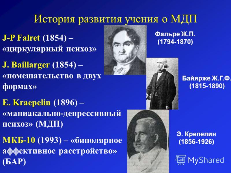 J-P Falret (1854) – «циркулярный психоз» J. Baillarger (1854) – «помешательство в двух формах» E. Kraepelin (1896) – «маниакально-депрессивный психоз» (МДП) МКБ-10 (1993) – «биполярное аффективное расстройство» (БАР) История развития учения о МДП Фал