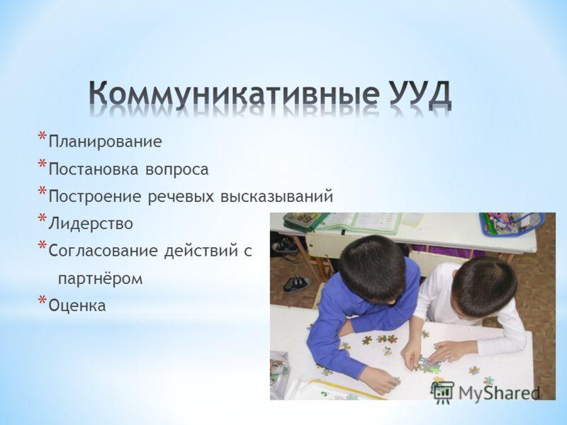 * Планирование * Постановка вопроса * Построение речевых высказываний * Лидерство * Согласование действий с партнёром * Оценка