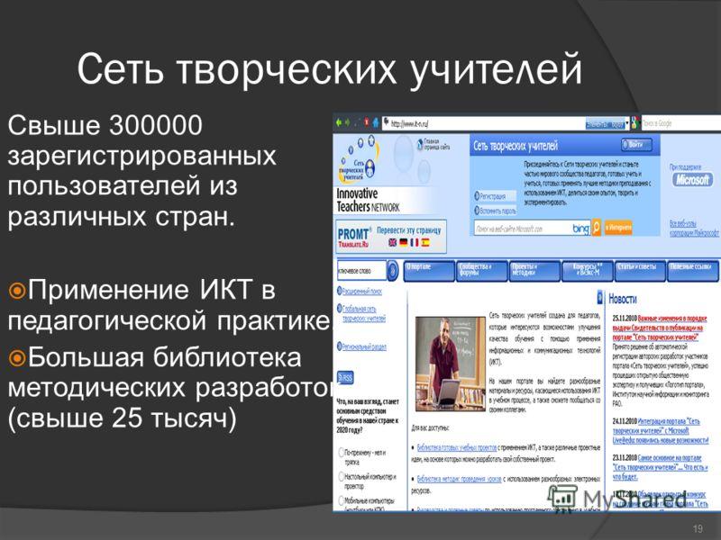Сеть творческих учителей Свыше 300000 зарегистрированных пользователей из различных стран. Применение ИКТ в педагогической практике. Большая библиотека методических разработок (свыше 25 тысяч) 19