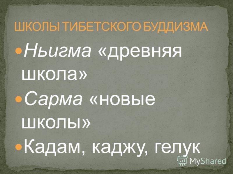 Ньигма «древняя школа» Сарма «новые школы» Кадам, каджу, гелук