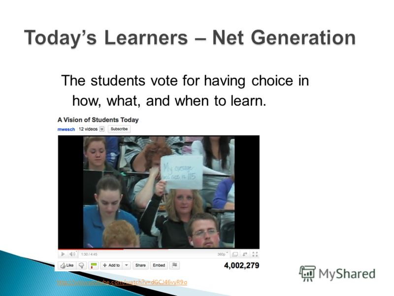 The students vote for having choice in how, what, and when to learn. http://www.youtube.com/watch?v=dGCJ46vyR9o