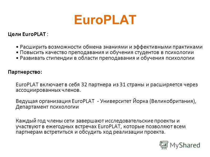 EuroPLAT Цели EuroPLAT : Расширить возможности обмена знаниями и эффективными практиками Повысить качество преподавания и обучения студентов в психологии Развивать стипендии в области преподавания и обучения психологии Партнерство: EuroPLAT включает
