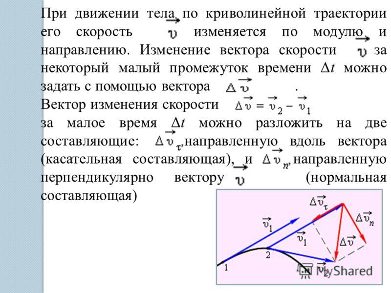 При движении тела по криволинейной траектории его скорость изменяется по модулю и направлению. Изменение вектора скорости за некоторый малый промежуток времени Δt можно задать с помощью вектора. Вектор изменения скорости за малое время Δt можно разло