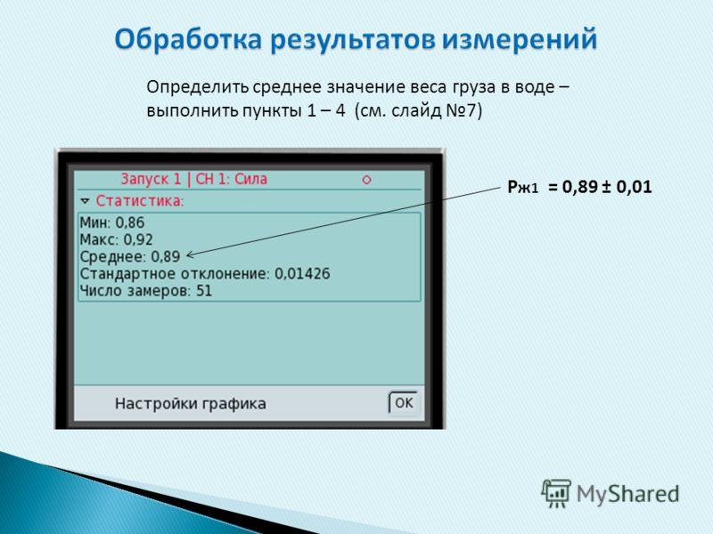 Определить среднее значение веса груза в воде – выполнить пункты 1 – 4 (см. слайд 7) Р ж 1 = 0,89 ± 0,01