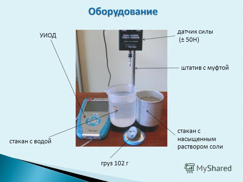 стакан с водой УИОД датчик силы (± 50Н) груз 102 г штатив с муфтой стакан с насыщенным раствором соли