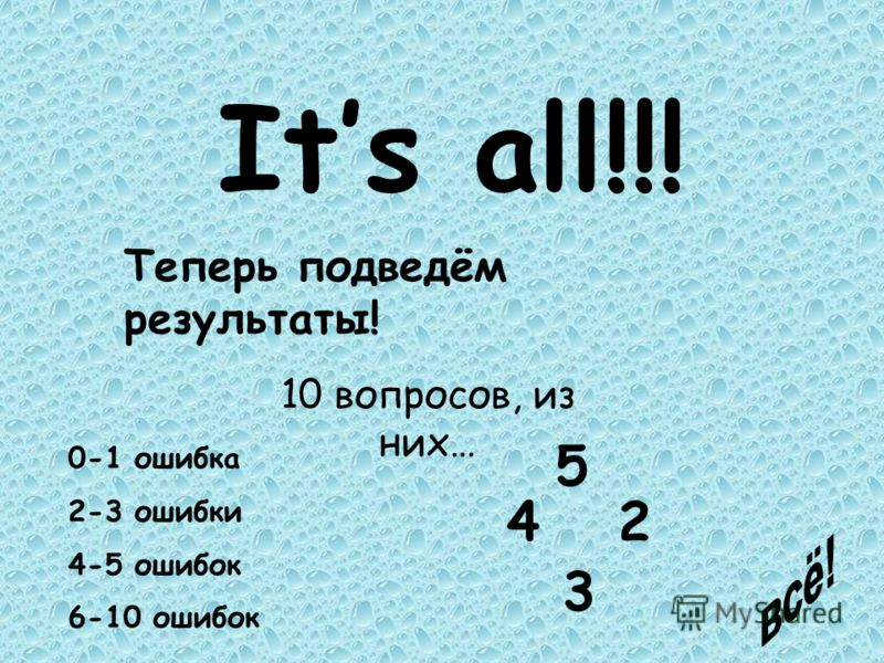 Its all!!! Теперь подведём результаты! 10 вопросов, из них… 0-1 ошибка 2-3 ошибки 4-5 ошибок 6-10 ошибок 5 4 3 2