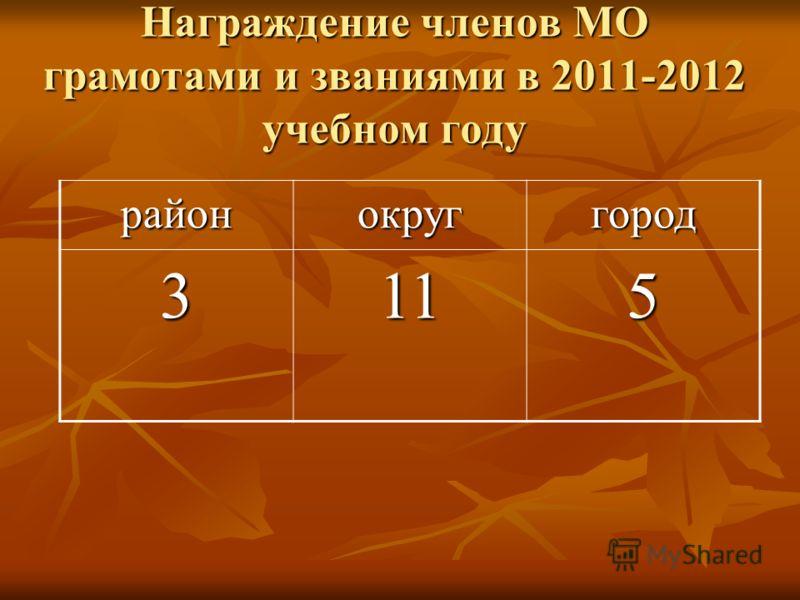 Награждение членов МО грамотами и званиями в 2011-2012 учебном году районокруггород 3115