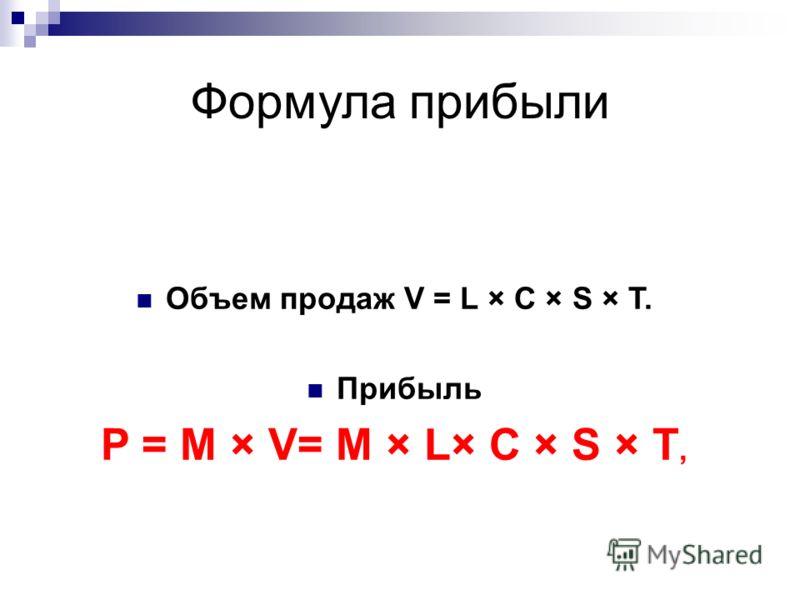 Формула прибыли Объем продаж V = L × C × S × T. Прибыль P = М × V= М × L× C × S × T,