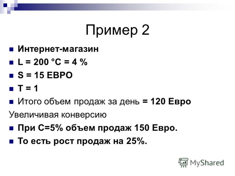 Пример 2 Интернет-магазин L = 200 °C = 4 % S = 15 ЕВРО T = 1 Итого объем продаж за день = 120 Евро Увеличивая конверсию При C=5% объем продаж 150 Евро. То есть рост продаж на 25%.