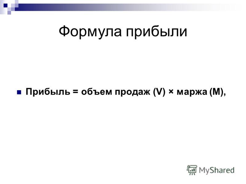 Формула прибыли Прибыль = объем продаж (V) × маржа (М),