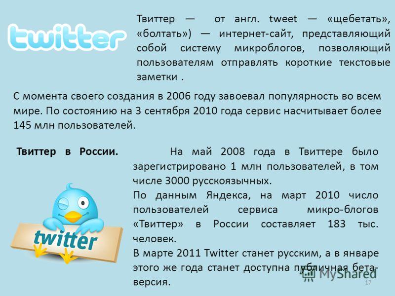 Твиттер в России. На май 2008 года в Твиттере было зарегистрировано 1 млн пользователей, в том числе 3000 русскоязычных. По данным Яндекса, на март 2010 число пользователей сервиса микро-блогов «Твиттер» в России составляет 183 тыс. человек. В марте