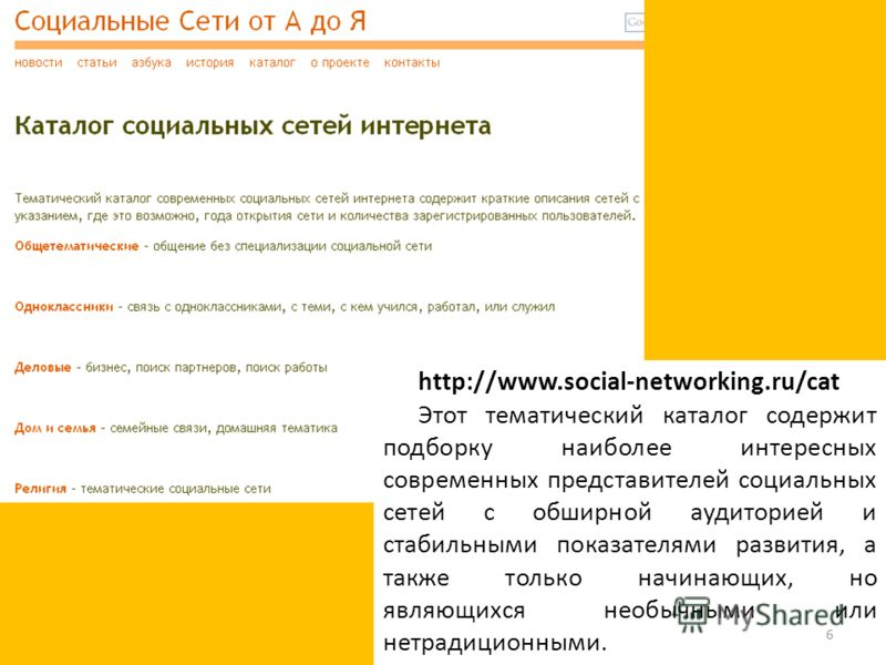 http://www.social-networking.ru/cat Этот тематический каталог содержит подборку наиболее интересных современных представителей социальных сетей с обширной аудиторией и стабильными показателями развития, а также только начинающих, но являющихся необыч