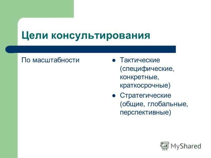 Цели консультирования По масштабности Тактические (специфические, конкретные, краткосрочные) Стратегические (общие, глобальные, перспективные)