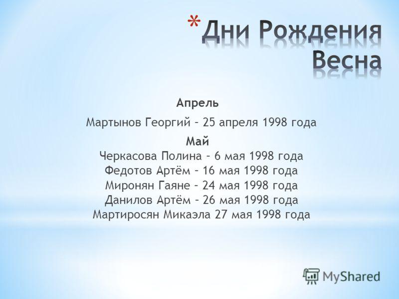Апрель Мартынов Георгий – 25 апреля 1998 года Май Черкасова Полина – 6 мая 1998 года Федотов Артём – 16 мая 1998 года Миронян Гаяне – 24 мая 1998 года Данилов Артём – 26 мая 1998 года Мартиросян Микаэла 27 мая 1998 года