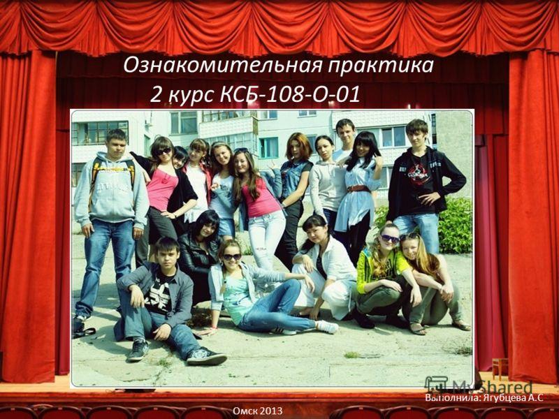 Ознакомительная практика 2 курс КСБ-108-О-01 Выполнила: Ягубцева А.С Омск 2013